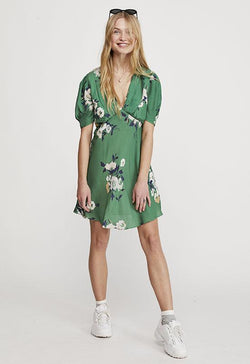 Free People - Green Multi Floral Neon Garden Mini Dress
