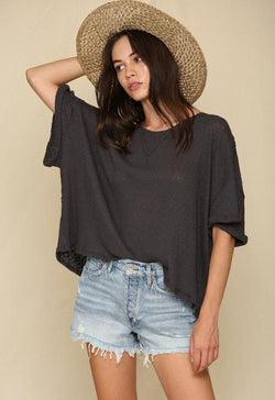 Quarter Sleeve Wide Neck Knit Ribbed Top Charcoal