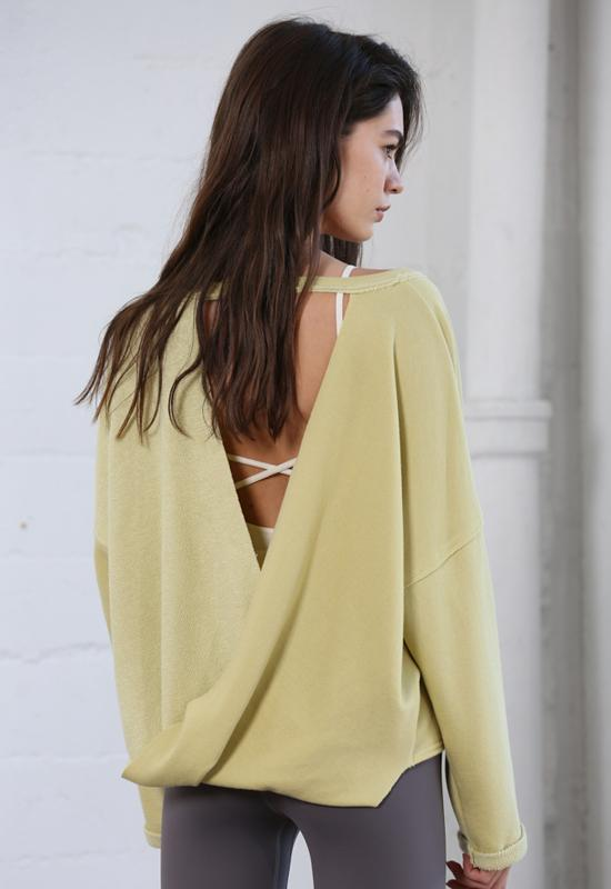 Knit French Terry Overlap Back Long Sleeve Top - Lemon