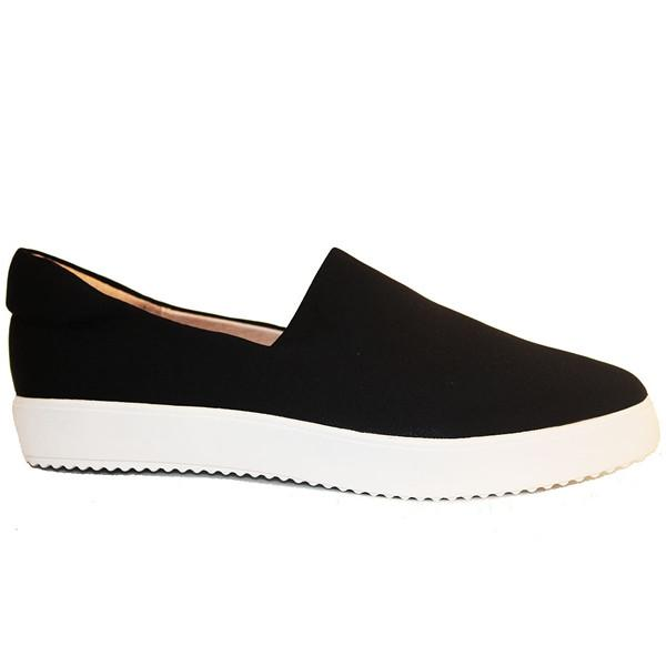 J Slides Debbie - Black Lycra Slip-On Flat Sneaker