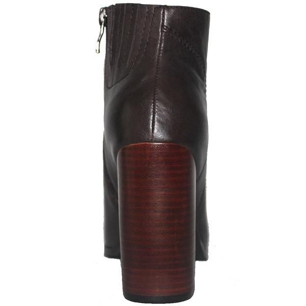 Kixters Chelsea - Brown Leather Side Zip Block Heel Short Boot