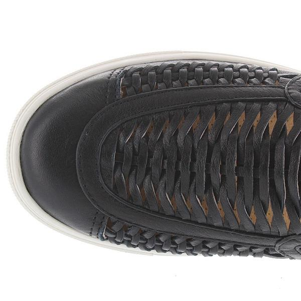 J Slides Cutup - Black Leather Woven Slip-On Sneaker