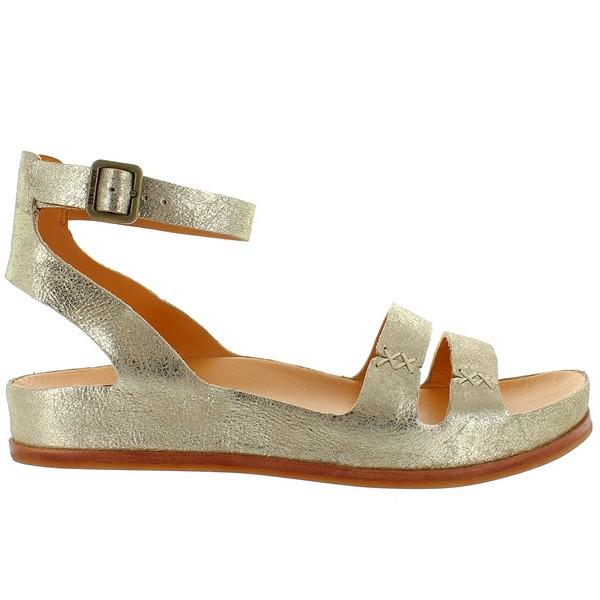 Kork-Ease Audrina - Gold Leather Dual Band Ankle Strap Sandal