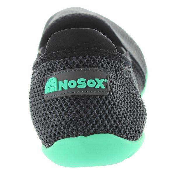 NoSox Meshpadrille - Charcoal/Mint Nylon Mesh Athleisure Slip-On