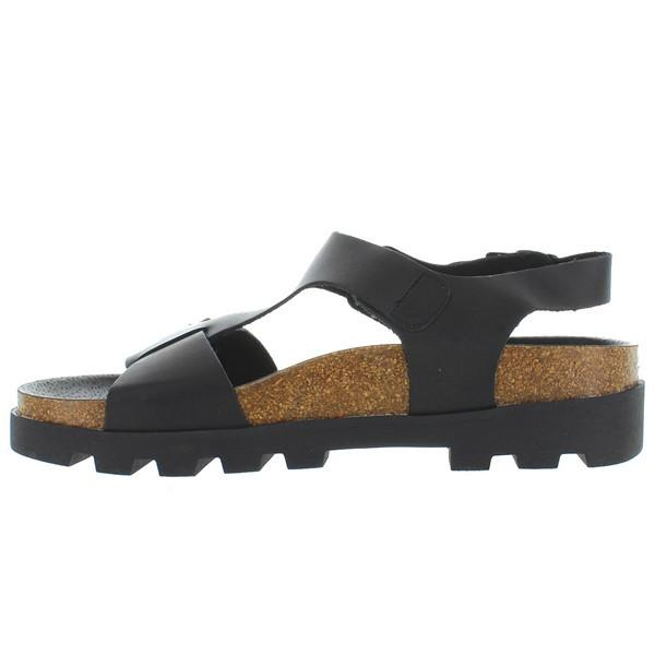SixtySeven Neva - Black Leather Triple Buckle Footbed Lug Sandal