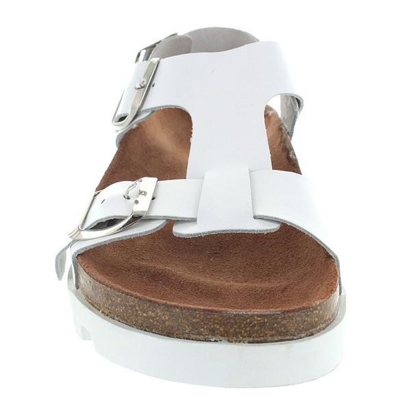 SixtySeven Neva - White Leather Triple Buckle Footbed Lug Sandal