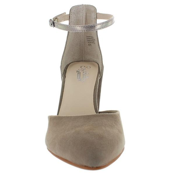 Seychelles Gaggle - Taupe Suede/Platinum Leather Ankle Strap Pump