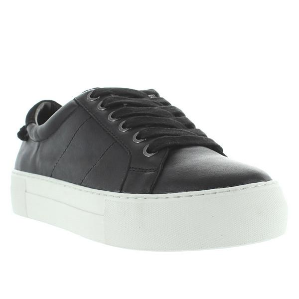 J Slides Asher - Black Leather Lace-Up Platform Sneaker