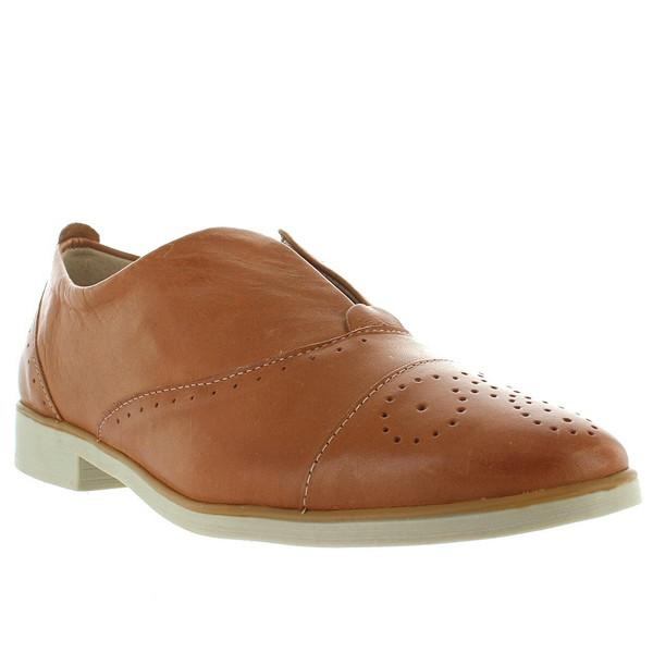 Chelsea Crew Westy - Tan Leather Perforated Slip-On Oxford