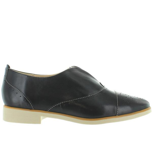 Chelsea Crew Westy - Black Leather Perforated Slip-On Oxford