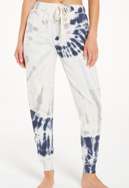 Z Supply - The Dee Grey/Indigo Multi Tie Dye Jogger