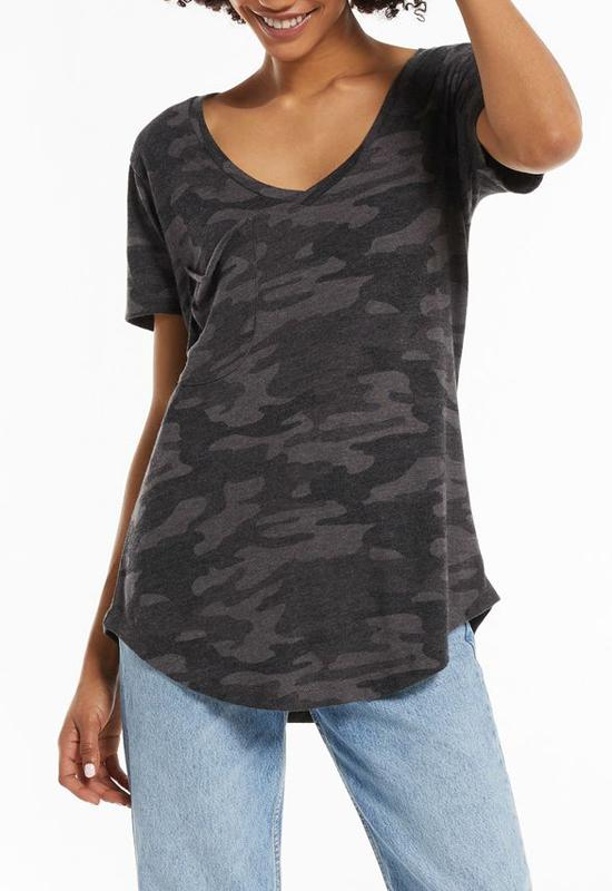 Z Supply - Camo Pocket Tee Camo Dark Charcoal