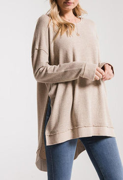 Z Supply - The Marled Light Taupe Sweater Knit V Neck Tunic