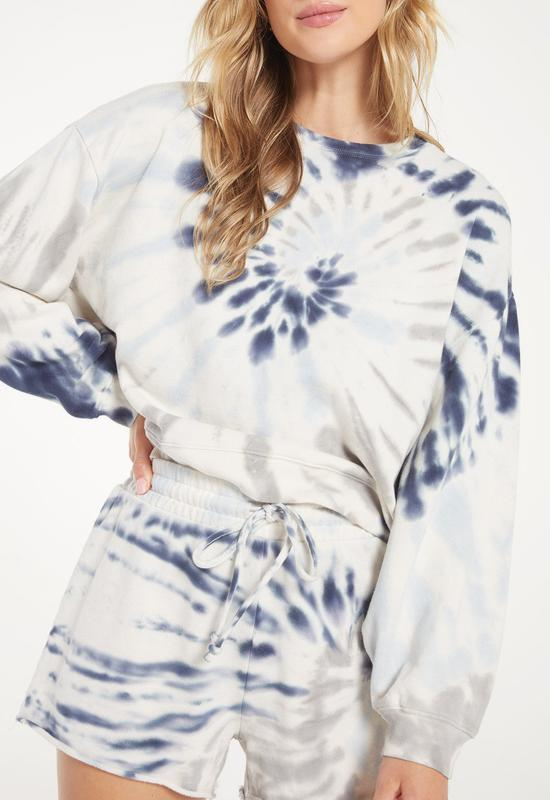 Z Supply - The Dee Grey/Indigo Multi Tie Dye Pullover Top