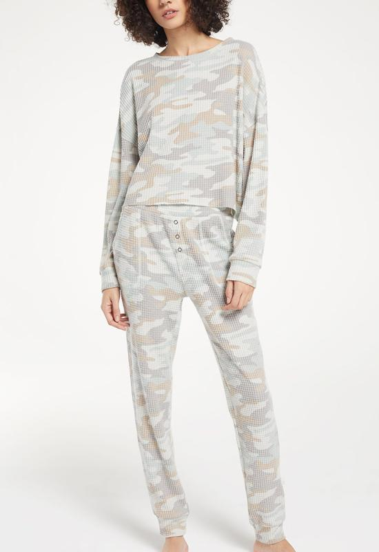 Z Supply - Celine Camo Long Sleeve Sage Mist