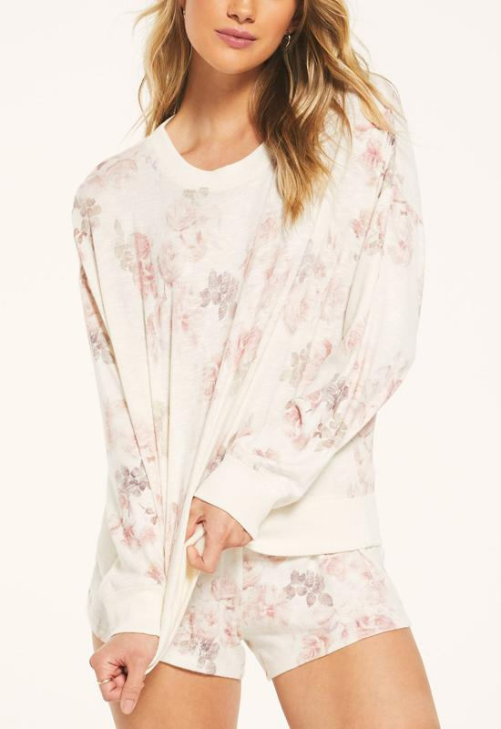 Z Supply - Elle Floral Long Sleeve Bone