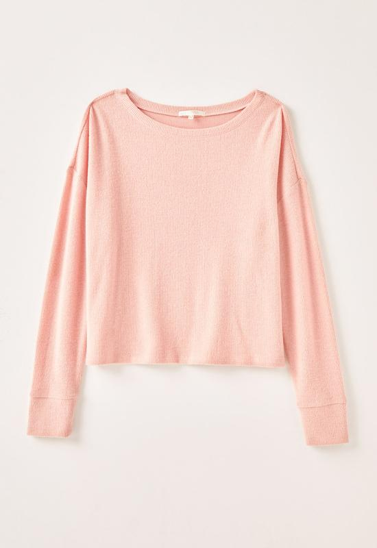 Z Supply - The Rosy Pink Leila Rib Long Sleeve Top