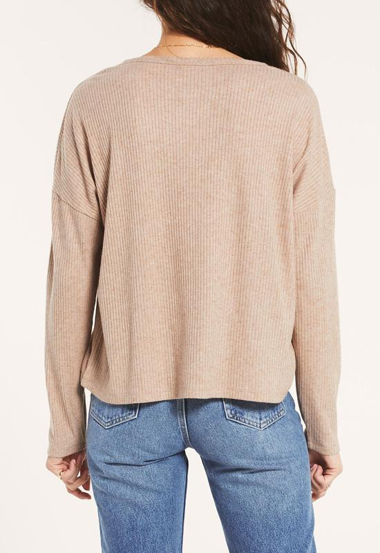 Z Supply - Robbie Rib Long Sleeve Heather Latte