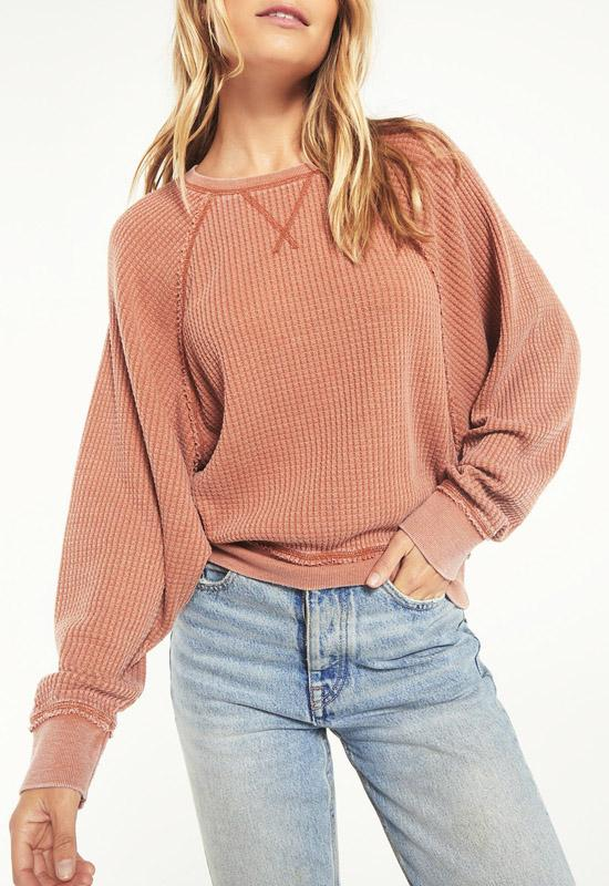 Z Supply - Claire Waffle Long Sleeve Copper