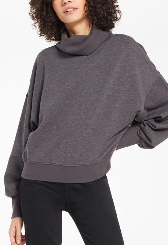 Z Supply - Ellis Mock Pullover Charcoal