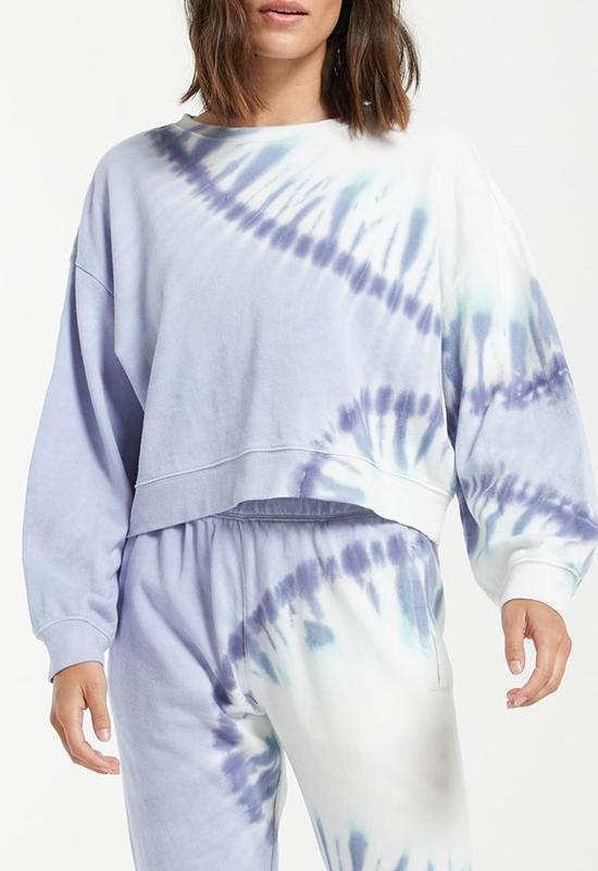 Z Supply - Sunburst Tie Dye Sweatshirt Ice Blue