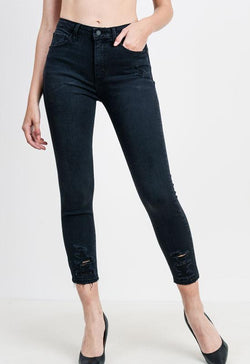Just Black - Black Washed Hi Rise Destruction Skinny Jeans