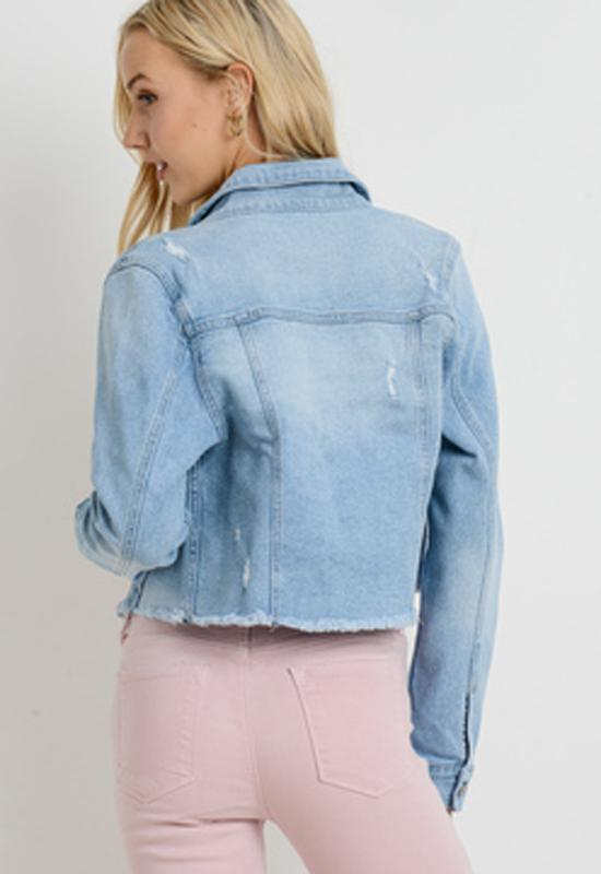 Just Black - Light Denim Frayed Cropped Jacket
