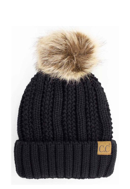 Black Vertical Knit Hat with Fur Pom