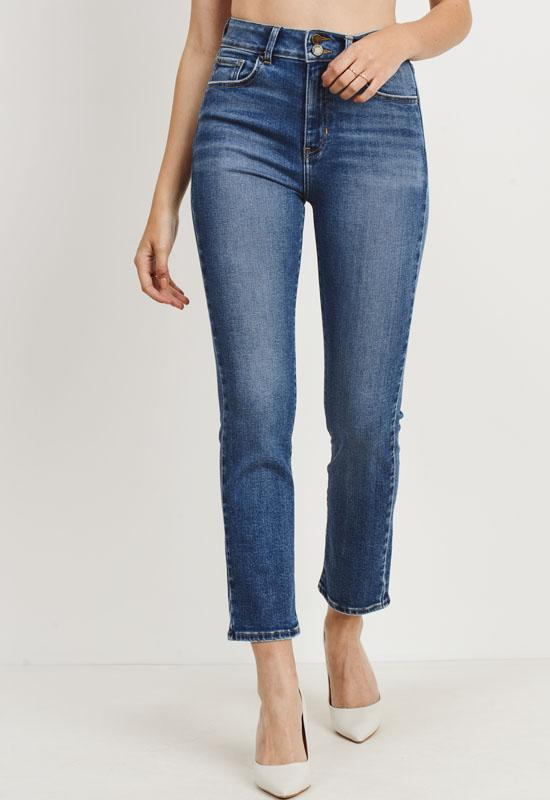 Just Black - Medium Blue Denim Double Button Straight Leg Jeans