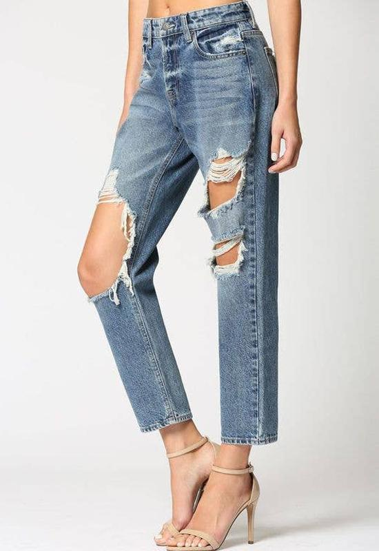 Hidden Jeans - Blue Denim Destructed Boyfriend Jeans