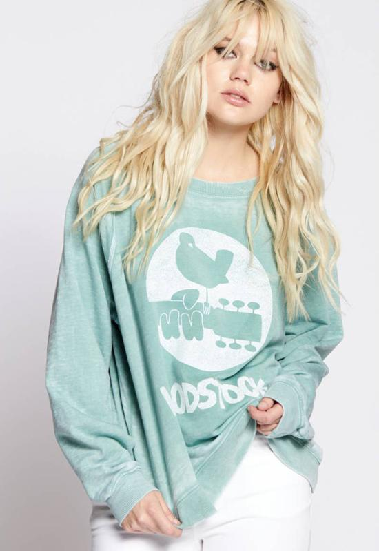 Recycled Karma - Woodstock Peace Oversized Sweat Shirt
