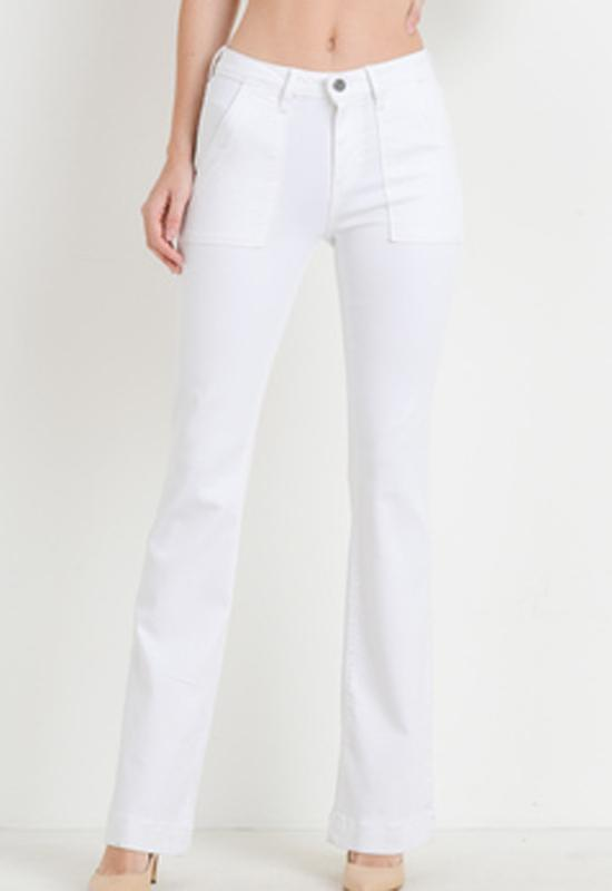 Just Black - White Denim Pocket Flare Cargo Jeans