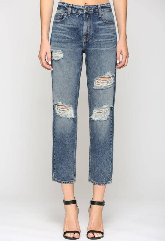 Hidden Jeans - Boyfriend Jeans Dark Washed Vintage Distressed