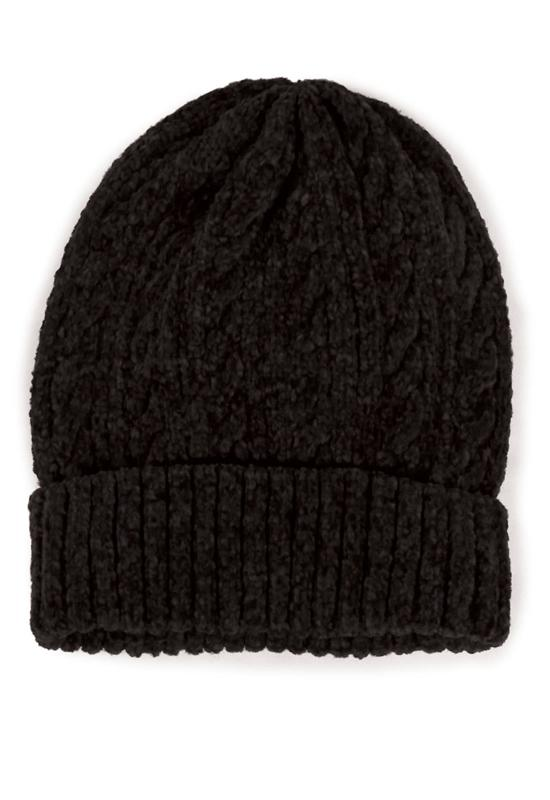 Black Cable Knit Chenille Beanie