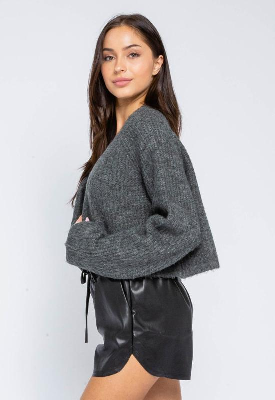 Short Cardigan Sweater - Charcoal