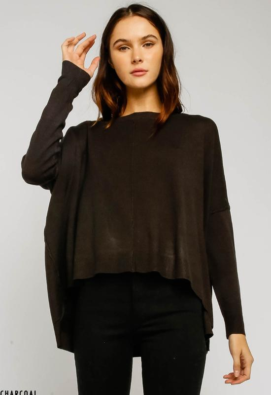 Relaxed Hi-Low Sweater with Dolman Sleeves