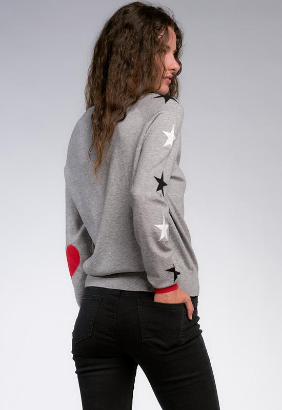 Elan - Grey Black/White Stars Crew Neck Top