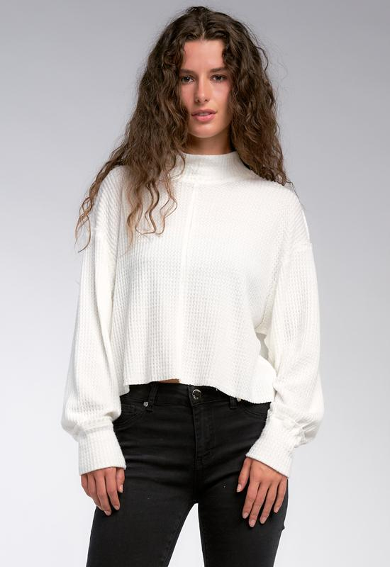 Elan - Long Sleeve Thermal Top with Collar Off-White
