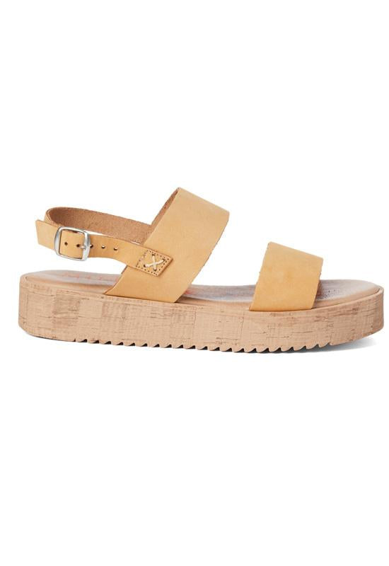 Musse & Cloud Zela - Cue Leather Dual Band Flat Platform Sandal