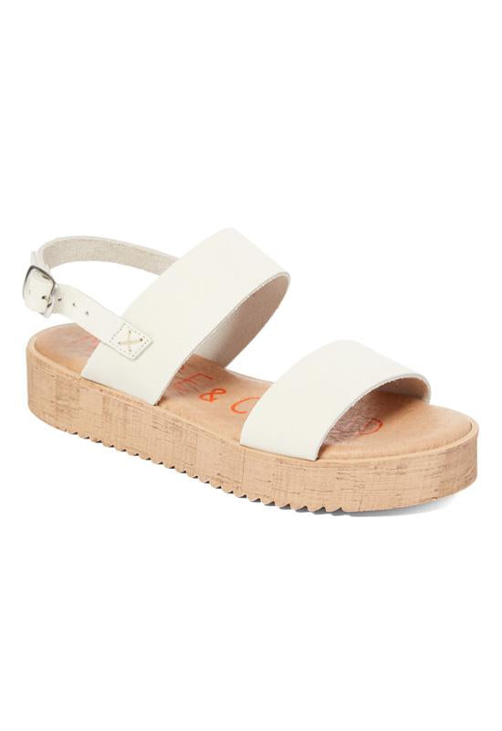Musse & Cloud Zela - Ice Leather Dual Band Flat Platform Sandal