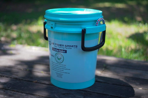 BUCKET PAL- 5 GALLON BUCKET WITH LID, PRINTED LEE FISHER SPORTS LOGO