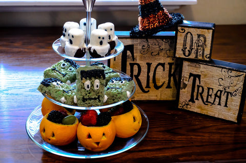 youll scare up compliments from ghouls and goblins with this crispy delight our luigi bormioli michelangelo 3 tier serving tray will turn heads too