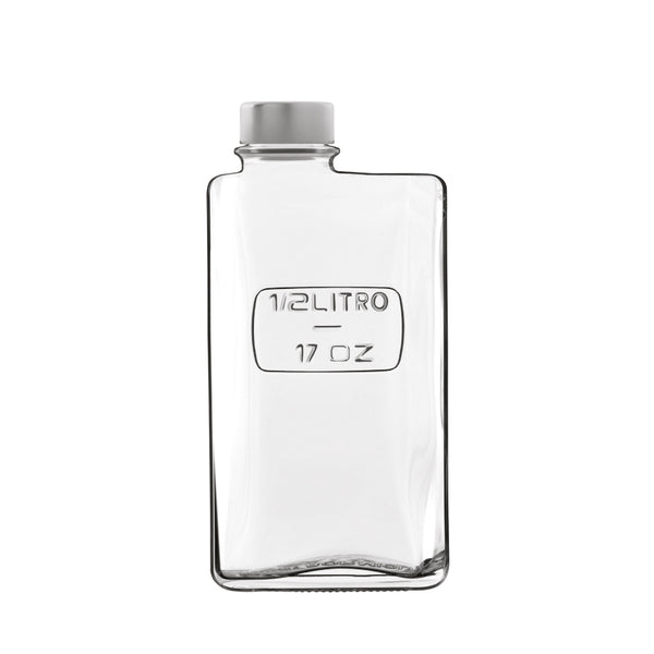 Optima 17 oz Rectangular Glass Bottle with Airtight Screw Top (1 Piece) - Luigi Bormioli
