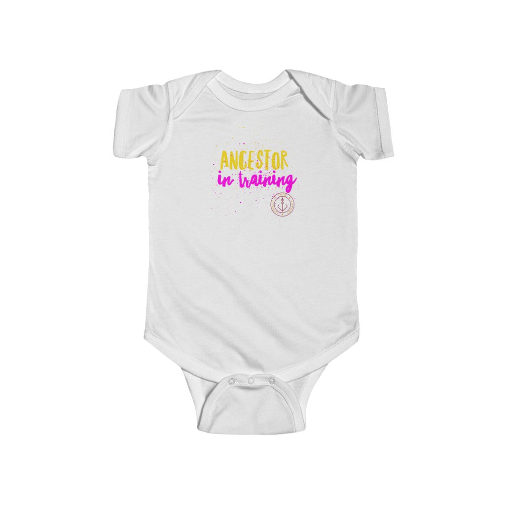 Infant Ancestor in Training Jersey Bodysuit (yellow & pink)