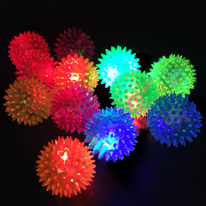 Light Up Spiky Squeeze Squeaker Ball Toy