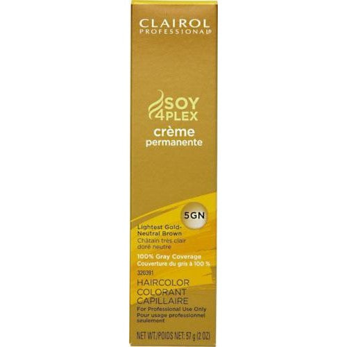 Clairol Professional Soy4Plex Creme Permanente Hair Color 5GN-Lightest Gold Neutral Brown