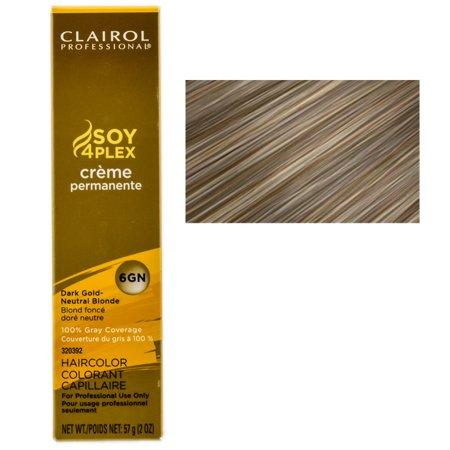 Clairol Professional Soy4Plex Creme Permanente Hair Color 6GN-Dark Gold Neutral Blonde