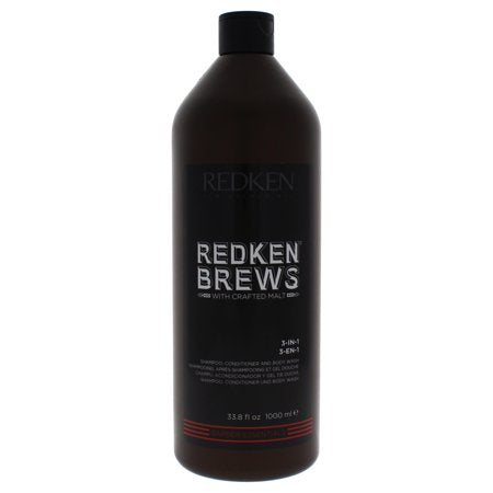 Redken Brews 3-In-1 Shampoo, Conditioner & Body Wash ~ Multi-Use Product for Men