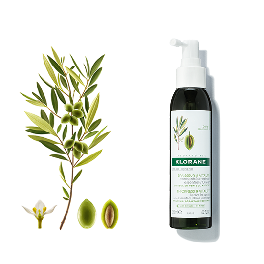 Klorane Thickness and Vitality Leave-In Spray with Essential Olive Extract Strengthens Weakened Hair
