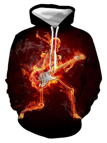 Burning Flame Skull Guitar Digital Print Halloween Hoodie